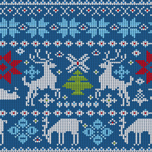 Seamless Vector Pattern With Knitted Elements On A Christmas Theme On A Blue Background.