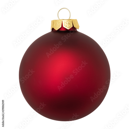 Photo  Red Christmas ornament baubles ball isolated on white background