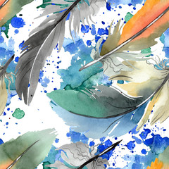 Fototapeta Boho Colorful bird feather from wing isolated. Watercolor background illustration set. Seamless background pattern.