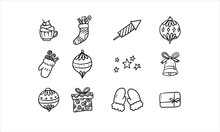 Ornament Merry Christmas And Happy New Year Hand Drawn Holiday Icon Vector Illustration. Winter Party Decoration.