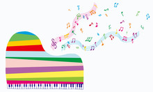 Grand Piano With Notes - Color...