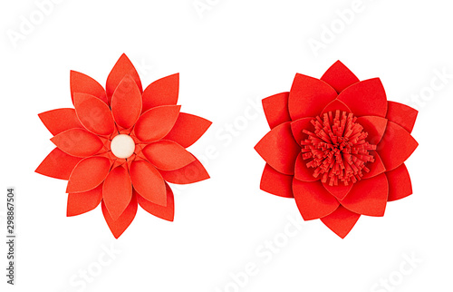 Set red paper flower, top view