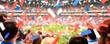 canvas print picture - Fussball-Stadion mit applaudierenden Fans & Konfetti