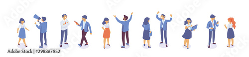 Isometric business men and women standing and having conversation. Horizontal banner. Talking. Business people team. Disscussing new idea. Coworkers. Vector isolated isometric characters.