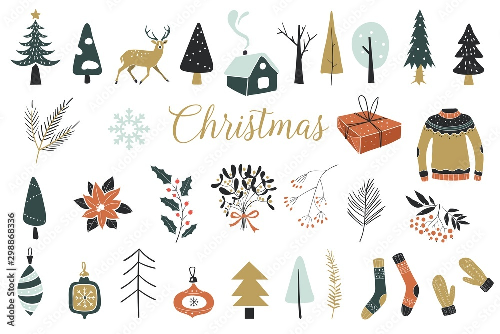Fototapety, obrazy: Collection of Vintage Merry Christmas And Happy New Year flowers. Vector illustration with floral elements, leaves.Perfect for winter decoration