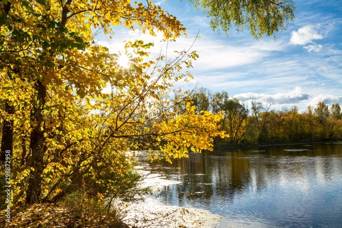 Beautiful autumn landscape - View from the river bank of the Siverskyi Donets, n Tapéta, Fotótapéta