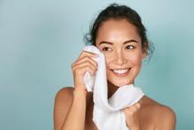 Washing Face. Closeup Of Woman...