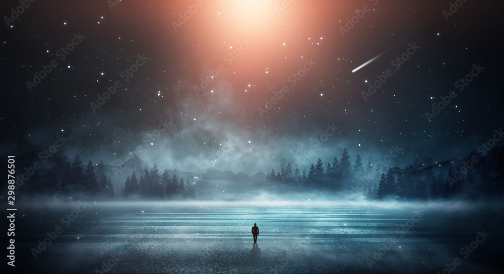 Fototapety, obrazy: Futuristic night landscape. Dark forest, river, mountains, reflection of night, moonlight on the water. Dark abstract landscape, neon light.