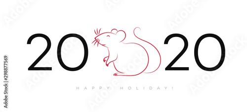 2020 Happy New Year celebration backgound with cute rat for layout design, calendar, holiday cover, flyer, brochure, party poster, greeting card, invitation Canvas Print