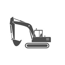 An Excavator Monochrome Icon. ...