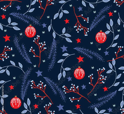 fototapeta na szkło Vector Seamless Christmas and New Year`s pattern. Winter and Christmas elements. Wrap for gifts. Vector illustration. Doodle style.