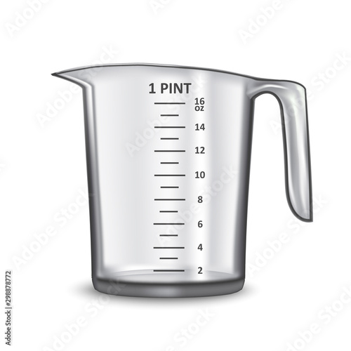 Fototapeta Realistic 3d Detailed Transparent Glass or Plastic Empty Measuring Cup. Vector obraz