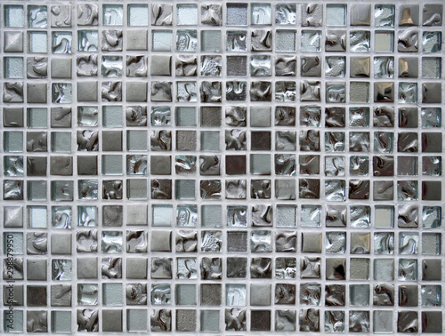 Fototapeta Shiny silver mosaic wall texture background.