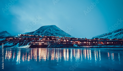 Poster Aurore polaire The polar arctic Northern lights hunting aurora borealis sky star in Norway travel photographer Svalbard in Longyearbyen city the moon mountains