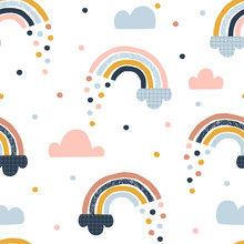 Seamless Abstract Pattern With Hand Drawn Rainbows, Rain Drops And Clouds. Creative Scandinavian Childish Background For Fabric, Wrapping, Textile, Wallpaper, Apparel. Vector Illustration