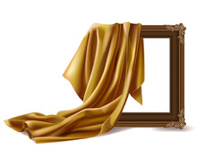 Gold Silk Cloth Cover Wooden Painting Frame Isolated On White Background. Fabric Drapery Curtain And Empty Picture Or Photo Border Mockup For Gallery Presentation. Realistic 3d Vector Illustration