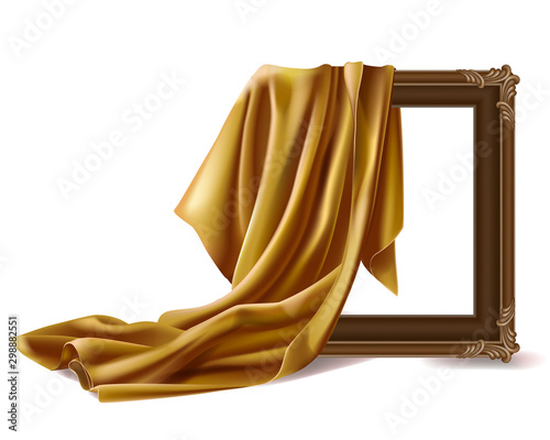 Gold silk cloth cover wooden painting frame isolated on white background Canvas Print