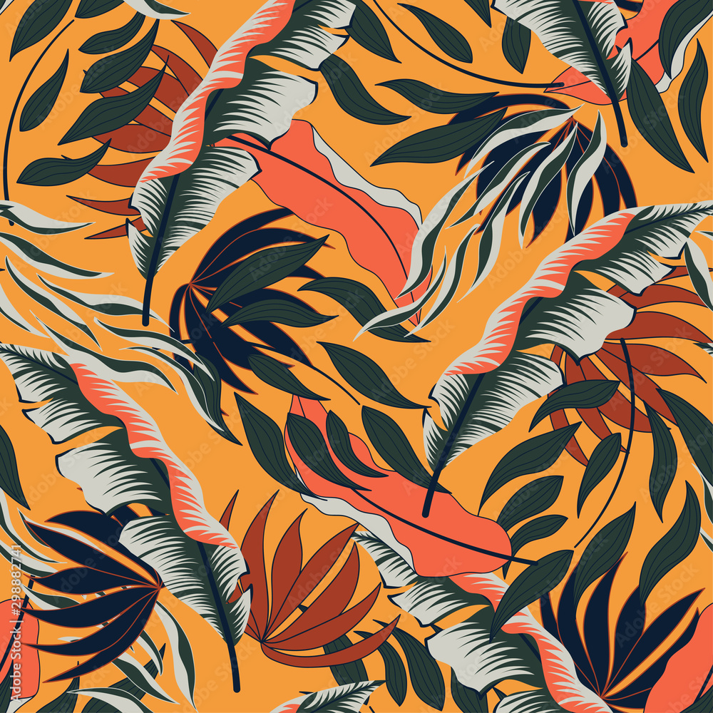 Fototapeta Tropical seamless summer pattern with bright red and green leaves and plants on a yellow background. Summer colorful hawaiian seamless pattern with tropical plants. Beautiful print with hand drawn.