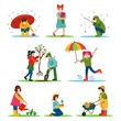 Spring activities and leisure of girl and boy outdoor vector illustration. Man fishing, woman walking with umbrella, people characters holding sapling tree. Environment caring of gardeners