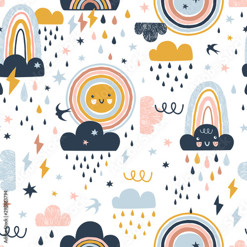 Photographie  Seamless cute pattern with hand drawn rainbows, rain drops, clouds sun and martlets
