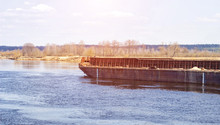 Old Iron Barge Floats On The R...
