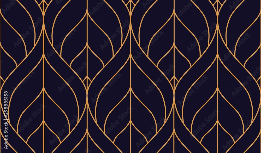 Fototapety, obrazy: Vector ornamental seamless pattern. Gold and blue background and wallpaper in Arabic style. Geometric pattern. illustration for your design. ь