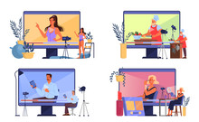 Vector Illustratiion Of Video Blogging Concept. Idea Of Creativity
