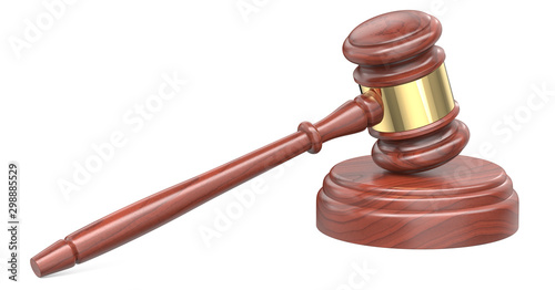 Wooden judge ceremonial gavel hammer of the chairman with a curly handle, for adjudication of sentences and bills, court, justice, with a wooden stand Canvas Print