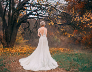 Panel Szklany Romantyczny Beauty romantic young woman in long tulle lace white dress posing in fantasy autumn forest. Beautiful happy fashion bride model girl enjoying nature outdoors. Shooting from back without face. Leaves
