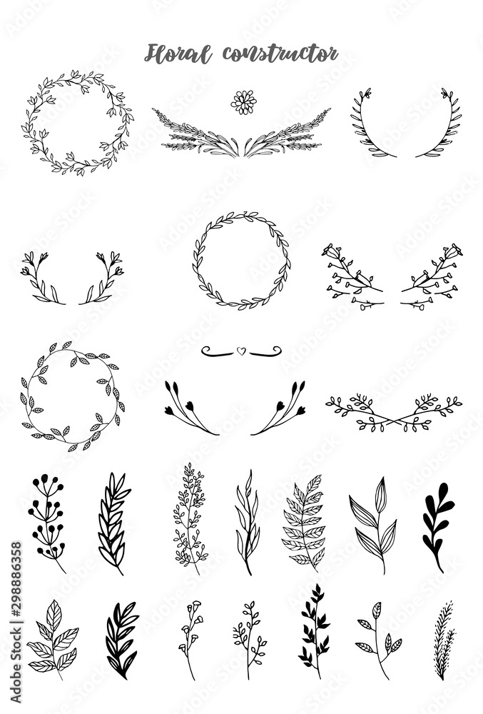 Fototapeta Floral hand draw black and white constructor. Floral elements for your design. Frames, dividers. Vector illustration.