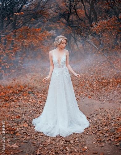 Fotografía bride in a white luxurious, modern, long dress with a seductive neckline