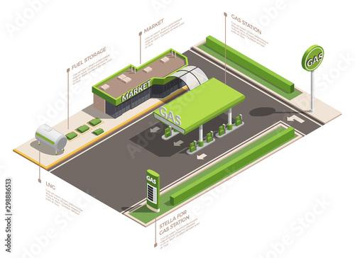 Photo  Gas Station Isometric Infographics