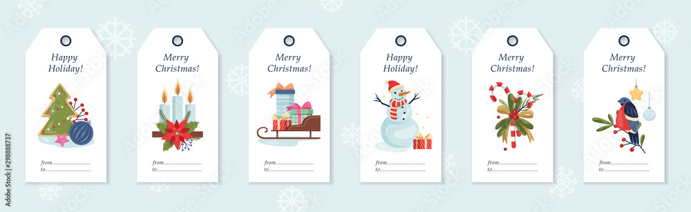 Fototapety, obrazy: Set of vector illustration of christmas gift labels.