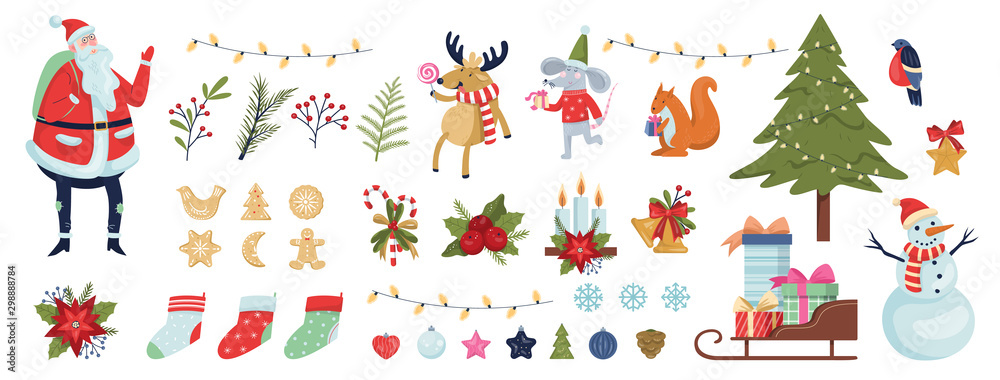 Fototapeta Cute christmas icon set. Collection of new year decoration stuff.