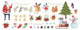 Fototapeta Fototapety na ścianę do pokoju dziecięcego - Cute christmas icon set. Collection of new year decoration stuff.