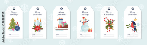 Fotografia Set of vector illustration of christmas gift labels.