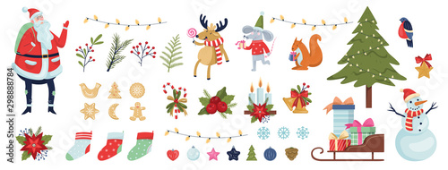Cute christmas icon set. Collection of new year decoration stuff. Wallpaper Mural