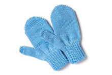 Blue Knitted Baby Mittens Isol...