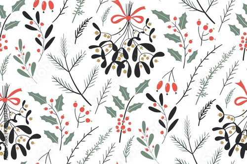 fototapeta na ścianę Hand drawn floral winter seamless pattern with christmas tree branches and berries. Vector illustration background.
