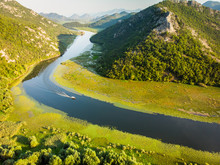 Aerial View Over Rijeka Crnojevi?a From The Pavlova Strana Viewpoint, Lake Skadar, Montenegro