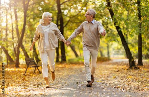 Spoed Fotobehang Wanddecoratie met eigen foto Happy senior couple in autumn park
