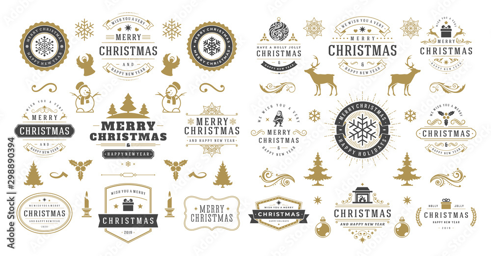 Fototapeta Christmas and happy new year wishes labels and badges set vector illustration - obraz na płótnie