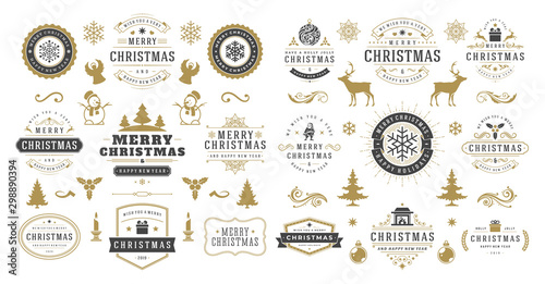 Fotografía  Christmas and happy new year wishes labels and badges set vector illustration