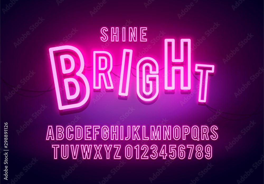 Fototapety, obrazy: Vector Illustration Retro Neon Font, Colorful Light Alphabet With Numbers. Shine Future Typography.