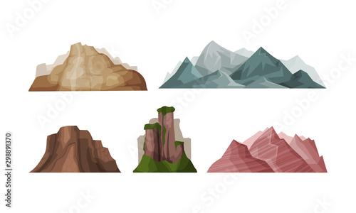 Fototapeta Set of vector illustrations of mountains on a white background. obraz