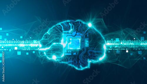 cervello, intelligenza artificiale, sinapsi, memoria, digitale, Obraz na płótnie