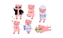 Cute Humanized Pink Pig In Different Looks And Clothes. Vector Illustration.