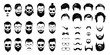 bearded icon set Vector illustration white background