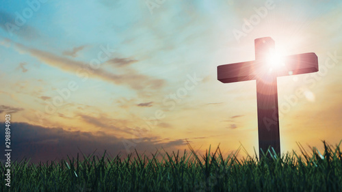3D Rendering of old wooden cross on grass hill with dramatic ray lights from sky Fototapete