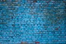 The Brick Wall Is Blue. Brick Blue Background